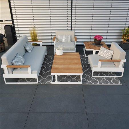 salon de jardin salon de jardin set de salon Cassis aluminium Teak blanc