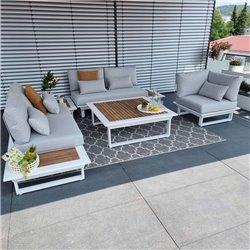 Gartenlounge Gartenmöbel  Lounge Set Cannes Aluminium Teak weiß Modul