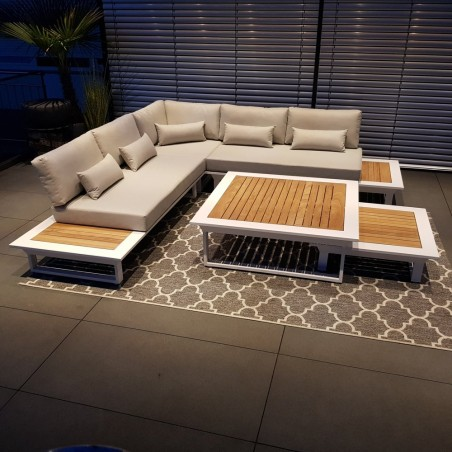salon de jardin salon de jardin ensemble lounge Cannes aluminium teck blanc Ensemble de modules de salon