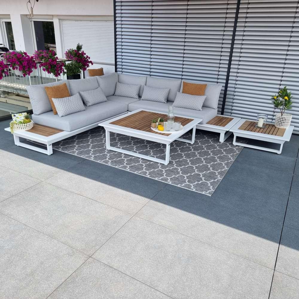 jardín salón muebles de jardín Cannes aluminio teca blanco