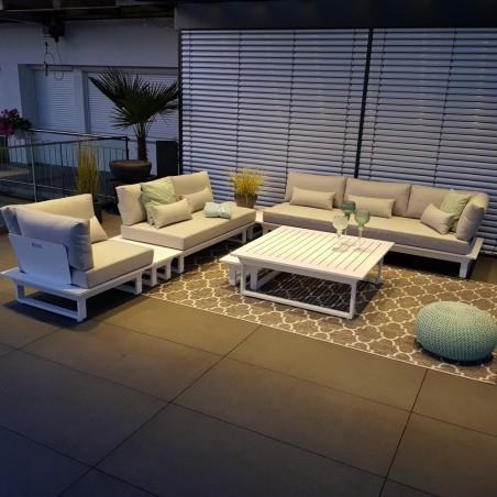 Salón de jardín muebles de jardín conjunto de salón Menton aluminio blanco muebles de salón Modul lounge exclusiv alu outdoor