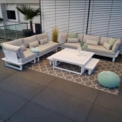 Salon de jardin salon de jardin ensemble de salon St. Tropez module en aluminium blanc canapé d'extérieur