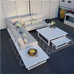 Gartenlounge Gartenmöbel  Lounge Set Grenoble Aluminium Anthrazit sonnenliege daybed modul